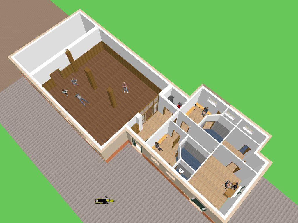 3D Entwurf vom Dojo - Blick ins Dojo, Eingangsbereich, Küche, Umkleideräumen, WC, Duschen und Büroräumen