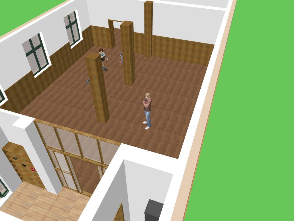 3D Entwurf vom Dojo - Blick ins Dojo und dem Eingangsbereich