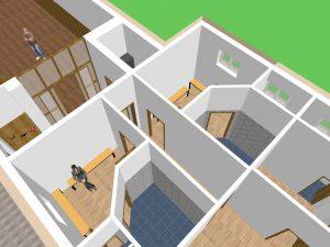 3D Entwurf vom Dojo - Blick in die Umkleideräumen und Duschen