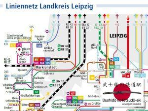 Dojo im Bahnhof Anfahrt mit der Bus Linie 163 Kartenauszug von Liniennetz Leipzig Land 2019