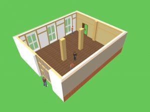 CAD Entwurf vom Dojo innen 01